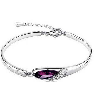 Cyan SilverPurple Alloy Silver Plated Bracelets For Women