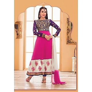 IndiWeaves Party Wear Semi Stitch Anarkali with  Resham & Zari Embroidery Work.