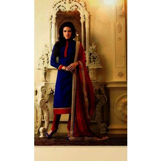 IndiWeaves Casual Wear Semi Stitch Dress Material with  Resham & Zari Embroidery Work.
