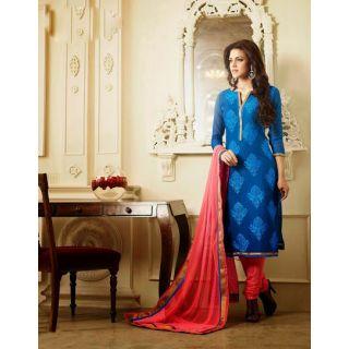 IndiWeaves Casual Wear Semi Stitch Dress Material with  Resham & Zari Embroidery Work.