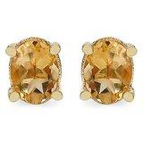 Johareez 2.40CTW 8x6mm Oval Shape Genuine Citrine Gold Plated Brass Earrings