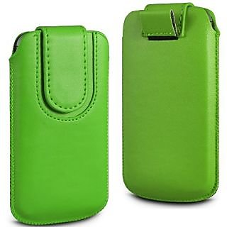 Wow Pu Leather Magnetic Pull Tab Protective Pouch For Micromax X501 4MPGreenMX501