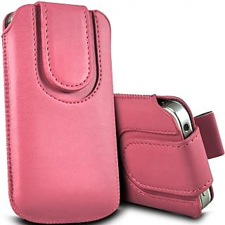 Wow Pu Leather Magnetic Pull Tab Protective Pouch For Micromax Bolt A34 4MPLpinkMBA34