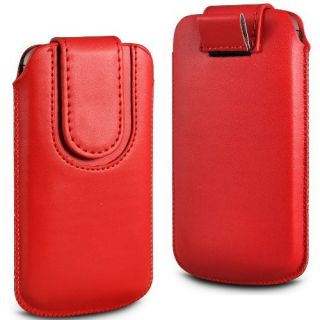 Wow Pu Leather Magnetic Pull Tab Protective Pouch For Micromax Bolt A36 4MPRedMBA36