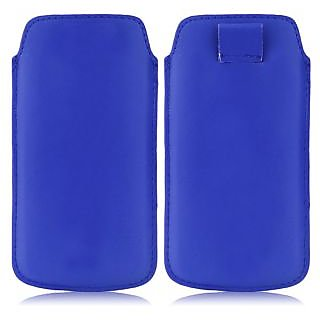 Wow Pu Leather Pull Tab Protective Pouch For Karbonn A15 Plus (Blue) 4PTBlueKA15Plus