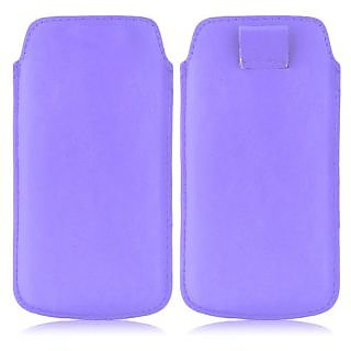 Wow Pu Leather Pull Tab Protective Pouch For Karbonn A91 (Purple) 4PTLPurpleKA91
