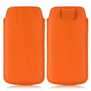 Wow Pu Leather Pull Tab Protective Pouch For Micromax A089 (Orange) 4PTOrangeMA089