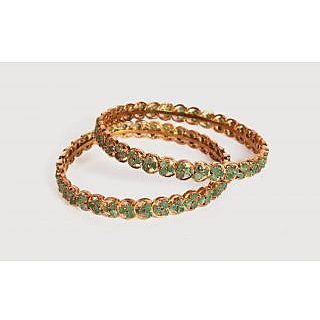 Porcupine Pair Of Gold Plated Bangles With Emerald PN-JW-BG-410-2.6