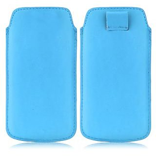 Wow Pu Leather Pull Tab Protective Pouch For Karbonn A21+ (Blue) 5PTLBlueKA21+