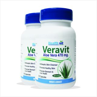 Healthvit Veravit Aloe Vera 470 mg 60 Capsules pack of 2