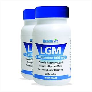 Healthvit LGM L-Glutamine 500 mg 60 Capsules For Mass Gain and Body Building. pa