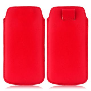 Wow Pu Leather Pull Tab Protective Pouch For Micromax Canvas Juice A77 (Red) 5PTRedMCJA77