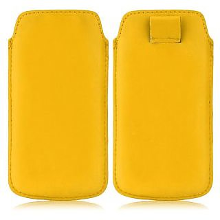 Wow Pu Leather Pull Tab Protective Pouch For Karbonn A35 (Yellow) 5PTYellowKA35