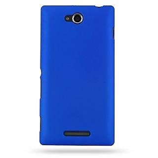 Wow Matte Rubberized Finish Hard Case For Sony Xperia C-Dark Blue MTXpeCDBlue