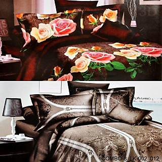 VALTELLINA SET OF 2 DOUBLE BED SHEET WITH 4 PILOW (COMBO-8-LK_002_012)