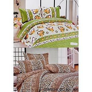 Valtellina set of 2 Double Bad Sheets with 4 pillow covers(COMBO-6_GO-001_008)