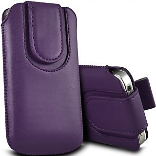 Wow Pu Leather Magnetic Pull Tab Protective Pouch For Karbonn Smart A5i 3.5MPDPurpleKA5i