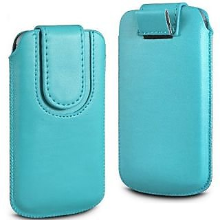 Wow Pu Leather Magnetic Pull Tab Protective Pouch For Micromax Bolt A37 3.5MPLblueMBA37