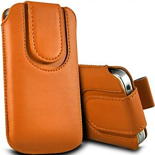 Wow Pu Leather Magnetic Pull Tab Protective Pouch For Micromax X458 3.5MPOrangeMMX458