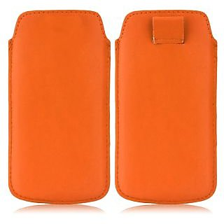 Wow Pu Leather Pull Tab Protective Pouch For Micromax X455i (Orange) 3.5PTOrangeMMX455i