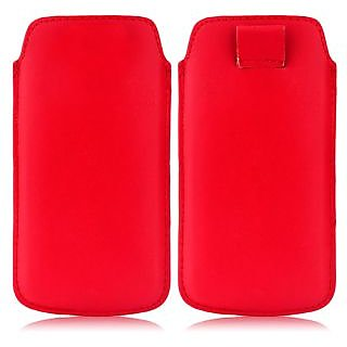 Wow Pu Leather Pull Tab Protective Pouch For Karbonn K76 (Red) 3.5PTRedKK76