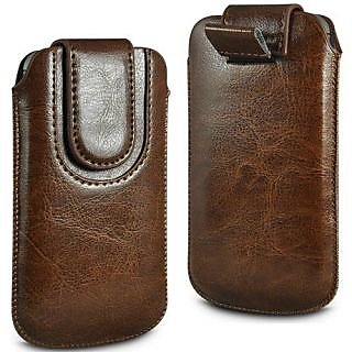 Wow Pu Leather Magnetic Pull Tab Protective Pouch For Lava Iris 454 4.8MPBrownLAVA I454