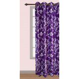 Handloomwala Purple With Flower And Vine Design Curtain Long Door (108 X 48)