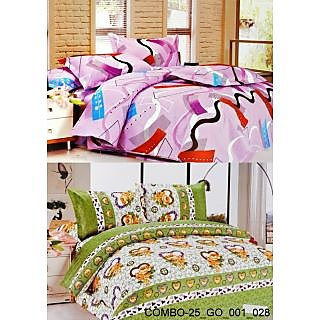 Valtellina set of 2 Double Bad Sheets with 4 pillow covers(COMBO-25_GO-001_028)