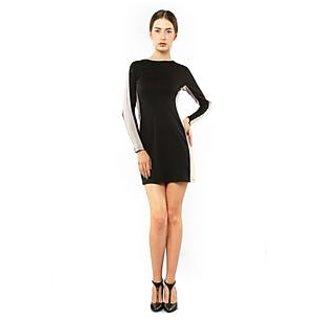Xny Black Colour Block Panel Dress