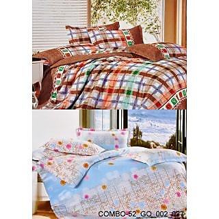 Valtellina set of 2 Double Bad Sheets with 4 pillow covers(COMBO-52_GO-002_027)