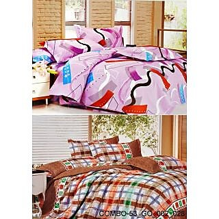 Valtellina set of 2 Double Bad Sheets with 4 pillow covers(COMBO-53_GO-002_028)