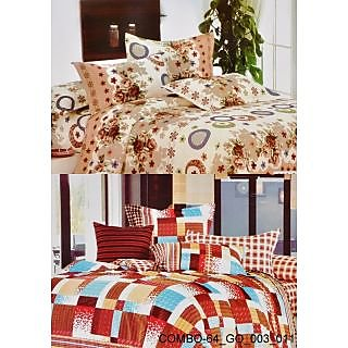 Valtellina set of 2 Double Bad Sheets with 4 pillow covers(COMBO-64_GO-003_011)