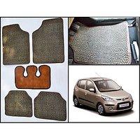 Washable Car Floor Mats For Hyundai I10 - (Paw Design - Brown & Black)