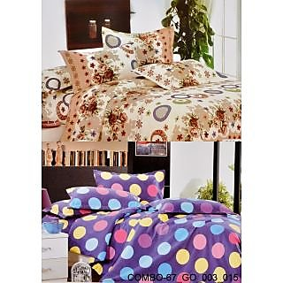 Valtellina set of 2 Double Bad Sheets with 4 pillow covers(COMBO-67_GO-003_015)