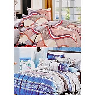 Valtellina set of 2 Double Bad Sheets with 4 pillow covers(COMBO_77_GO_009_013)