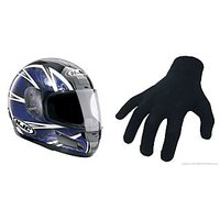 Full Face Stylish Helmet + Bike Riding Gloves