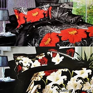 VALTELLINA SET OF 2 DOUBLE BED SHEET WITH 4 PILOW(COMBO-54-LK_018_026)