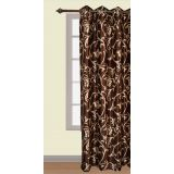 Handloomwala Brown With Flower And Vine Design Curtain Door (84 X 48)
