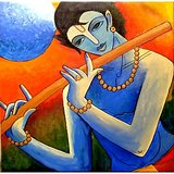 Krishna Hand Painting On Canvas