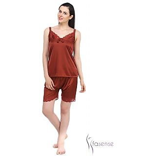 Fasense Women Exclusive Nightwear Satin , Sleepwear Barmuda Nightwear Top & Shorts (DP042 E)