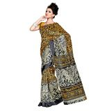 Printed Dupion Cotton Blend Saree Sari + Free Saree Cover