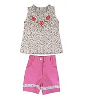 Ssmitn Pink Ditsy printed top and shorts