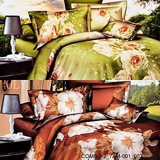 Valtellina set of 2 double bedsheet with 4 pilow covers(COMBO-2_7AM-001_003)