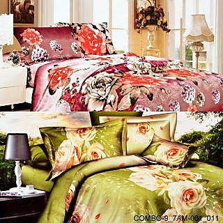 Valtellina set of 2 double bedsheet with 4 pilow covers(COMBO-9_7AM-001_011)
