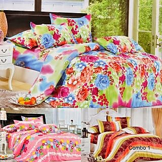 Valtellina Set Of 3 Double Bed Sheet With 6 Pillow Covers(Combo-1_LID-06_07_08)