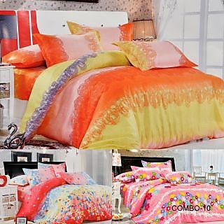 ValtellinaSet Of 3 Double Bed Sheet With 6 Pillow Covers(Combo-10_LID-07_017_01)