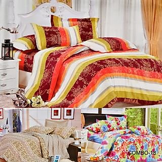 ValtellinaSet Of 3 Double Bed Sheet With 6 Pillow Covers(Combo-18_LID-06_08_024)