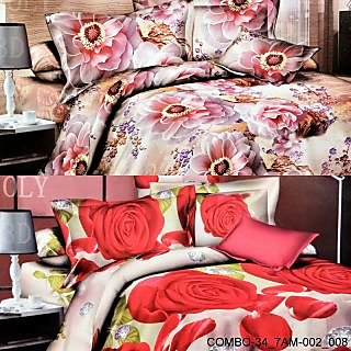 Valtellina set of 2 double bedsheet with 4 pilow covers(COMBO-34_7AM-002_008)
