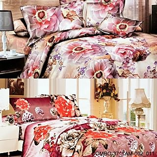 Valtellina set of 2 double bedsheet with 4 pilow covers(COMBO-37_7AM-002_011)