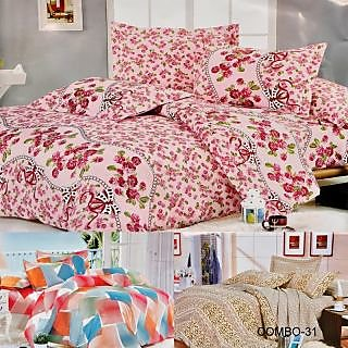 ValtellinaSet Of 3 Double Bed Sheet With 6 Pillow Covers(Combo-31_LID-012_023_0)